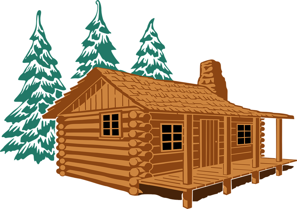 cabin in pines colored posterized cabin - Cabin PNG Free
