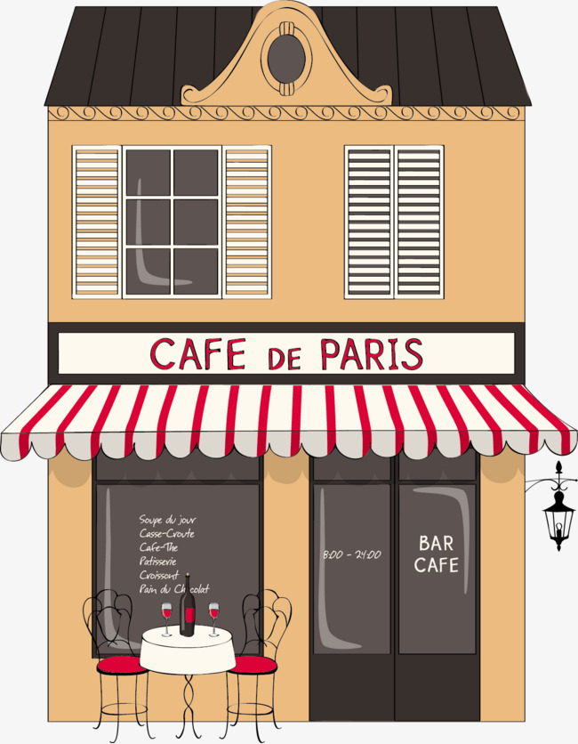 Paris Coffee Shop Cafe Flat Building PNG Image And Clipart