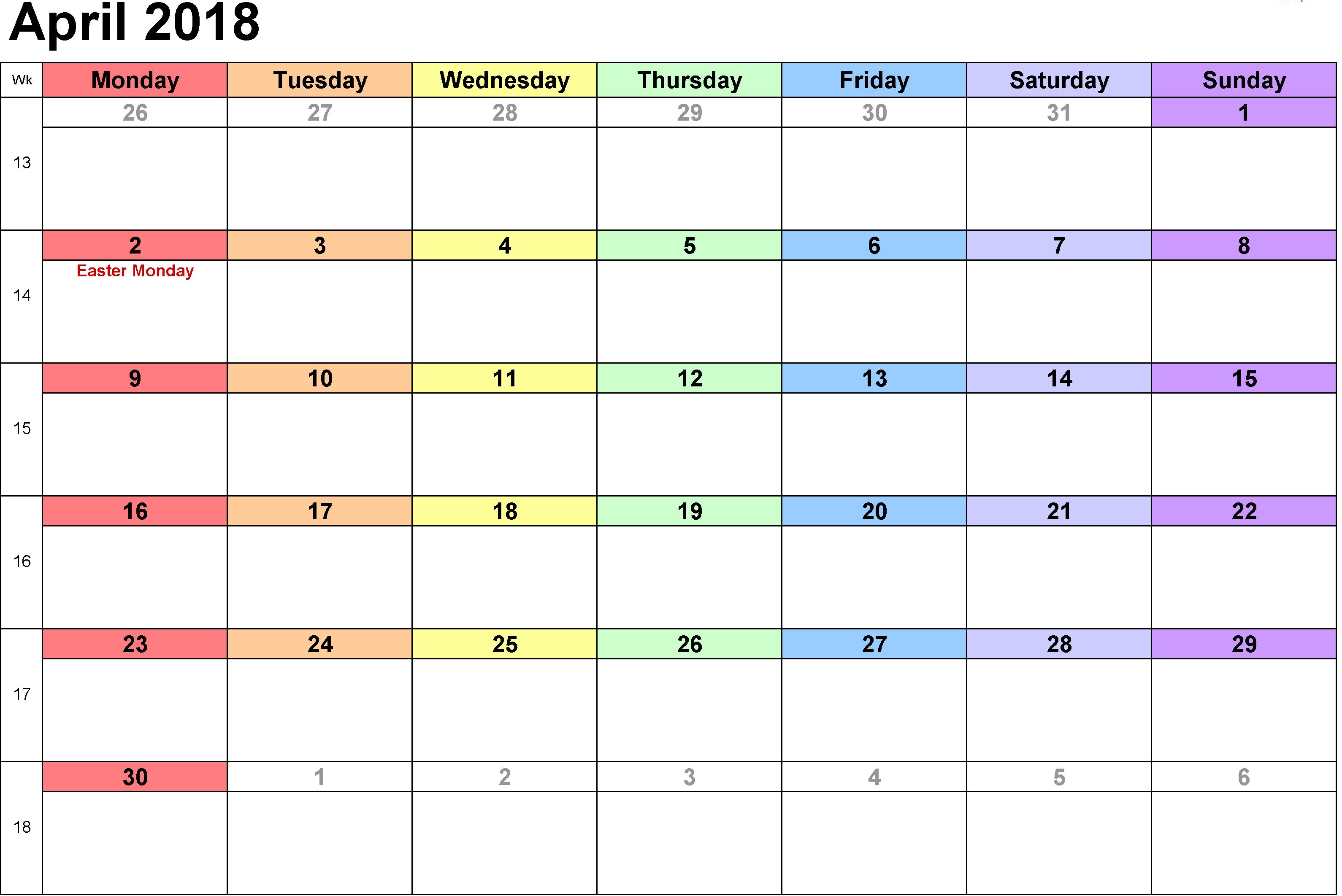 2018 April Calendar - Calendar April PNG