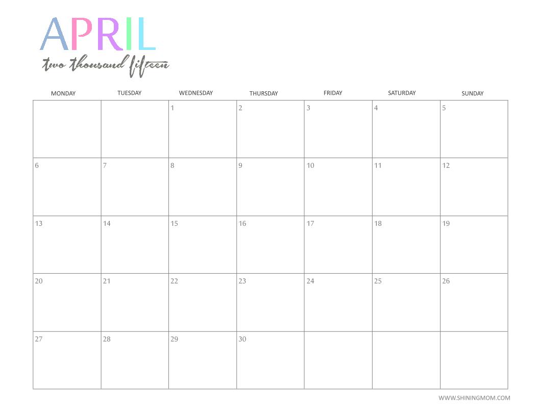 April 2015 PlusPng.com  - Calendar April PNG