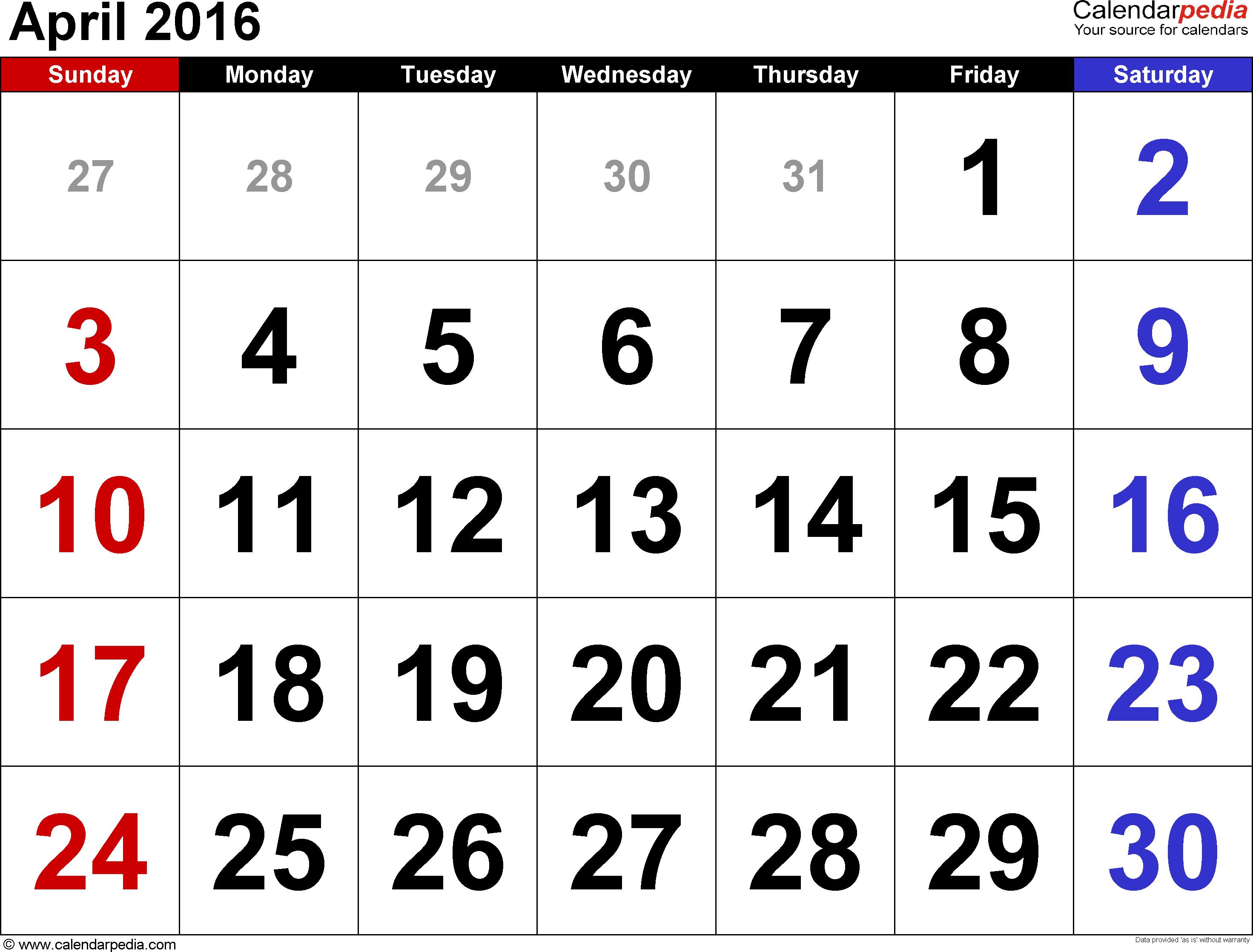 April 2016 calendar - Calendar April PNG