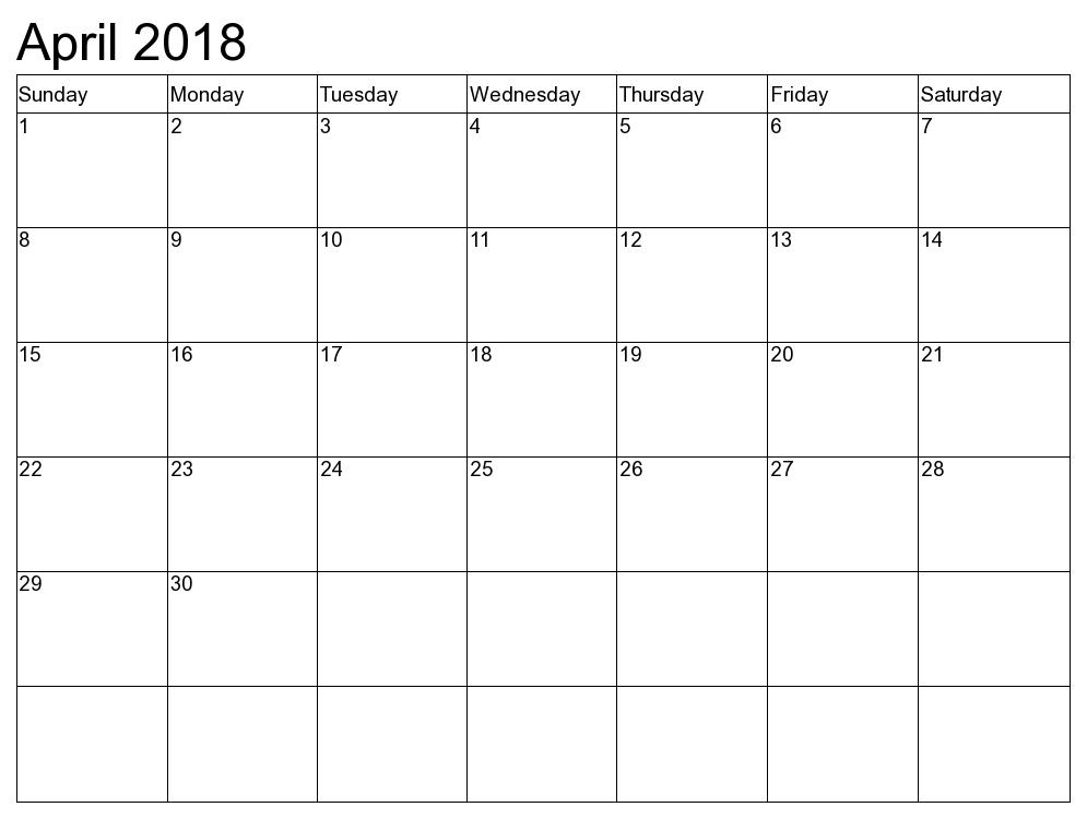 . PlusPng.com april-2018-calendar.png PlusPng.com  - Calendar April PNG