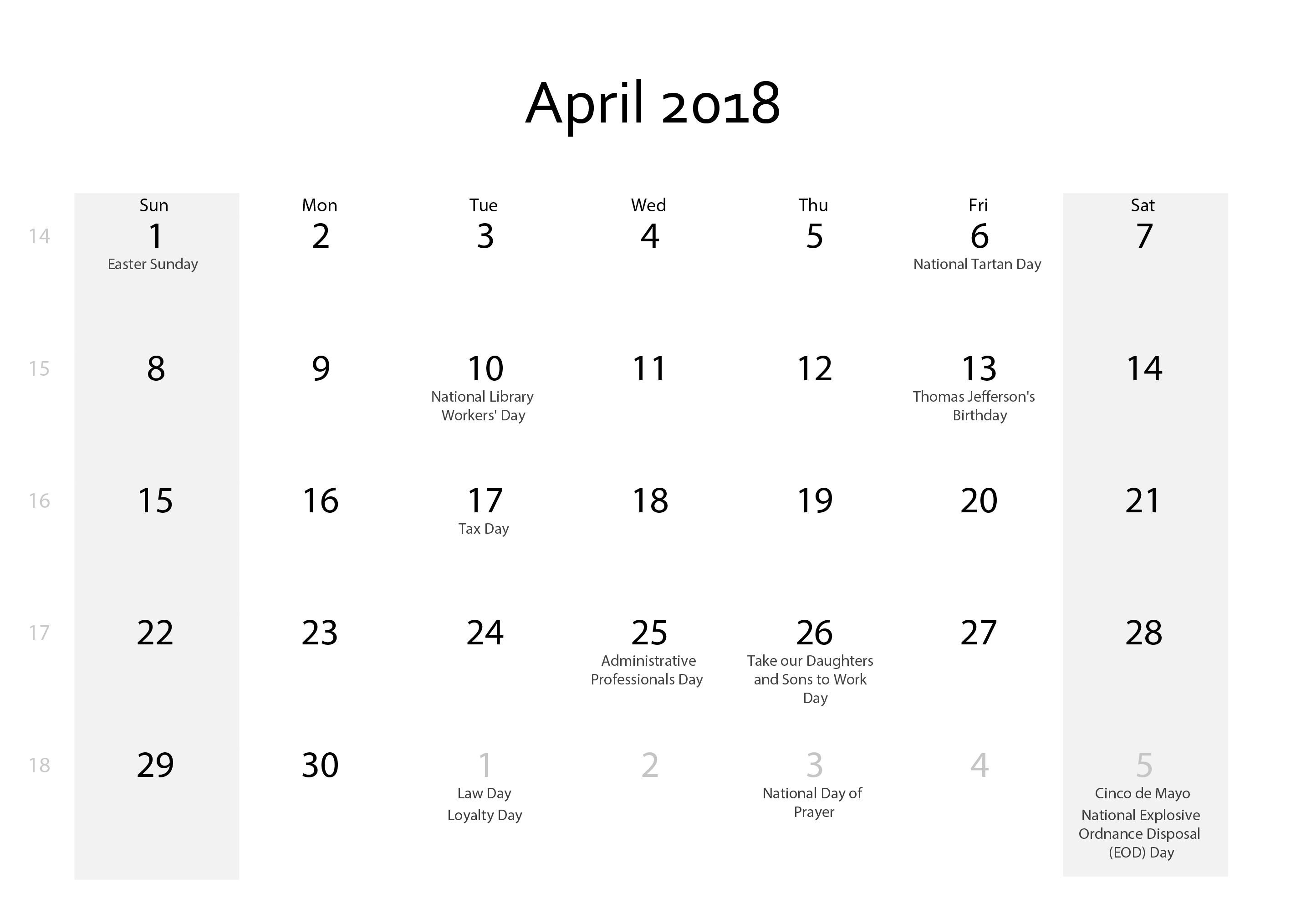 April 2018 Calendar Vertical Free Download April 2018 Calendar With  Holidays Download - Calendar April PNG