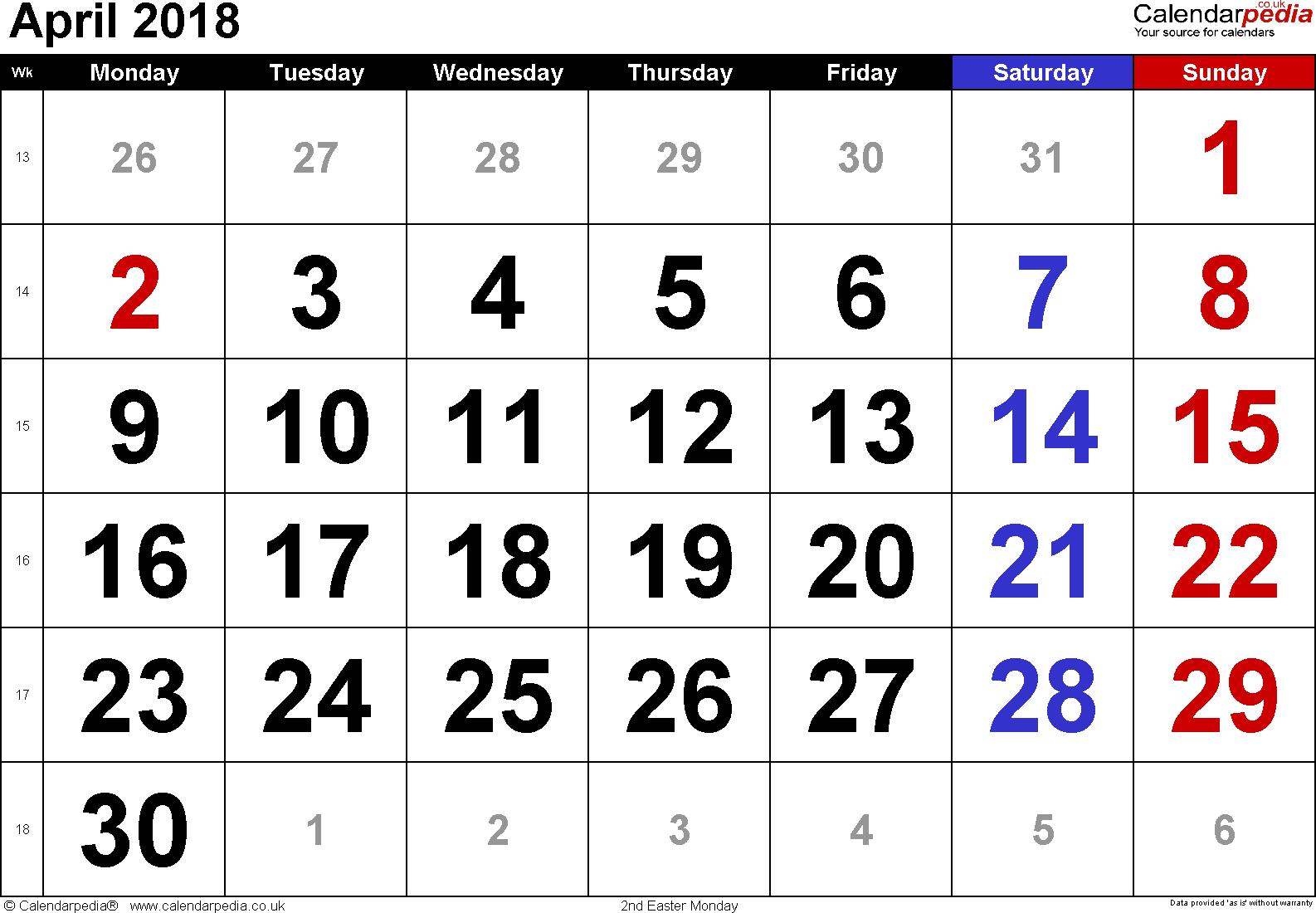 Calendar April 2018, landscape orientation, large numerals, 1 page, with UK  bank - Calendar April PNG