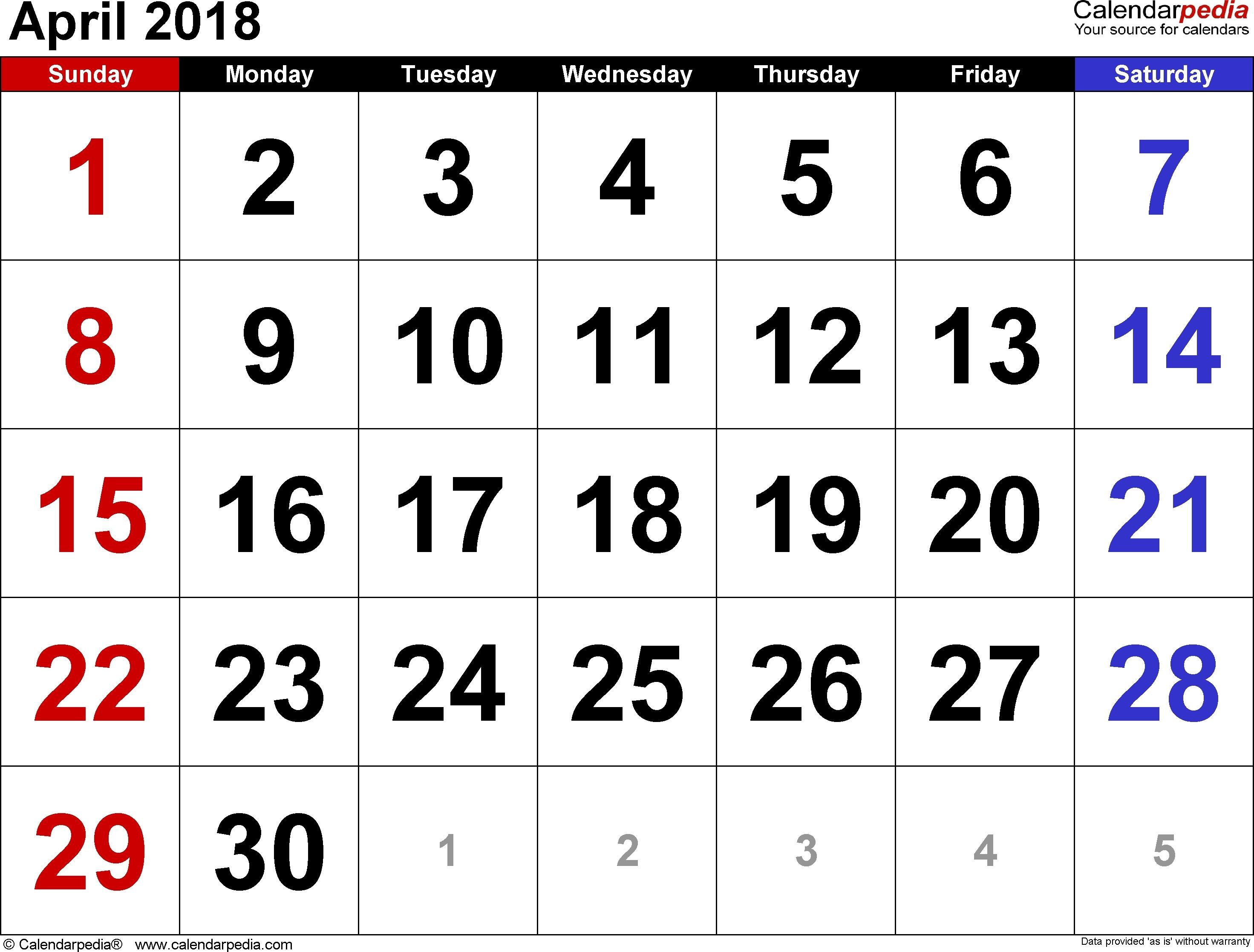 Calendar April 2018 Png - Calendar April PNG