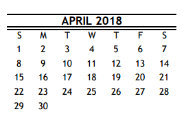 District School Academic Calendar for Wharton Elementary for April 2018 - Calendar April PNG