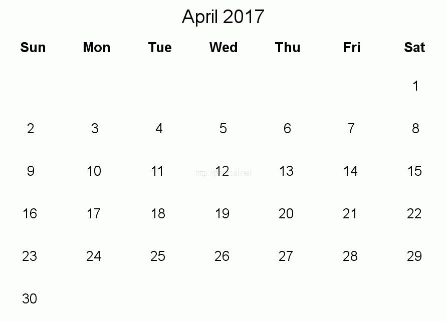 Download. April 2017 Calendar Pdf - Calendar April PNG