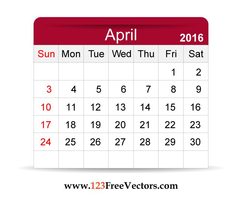 Free Vector 2016 Calendar April - Calendar April PNG