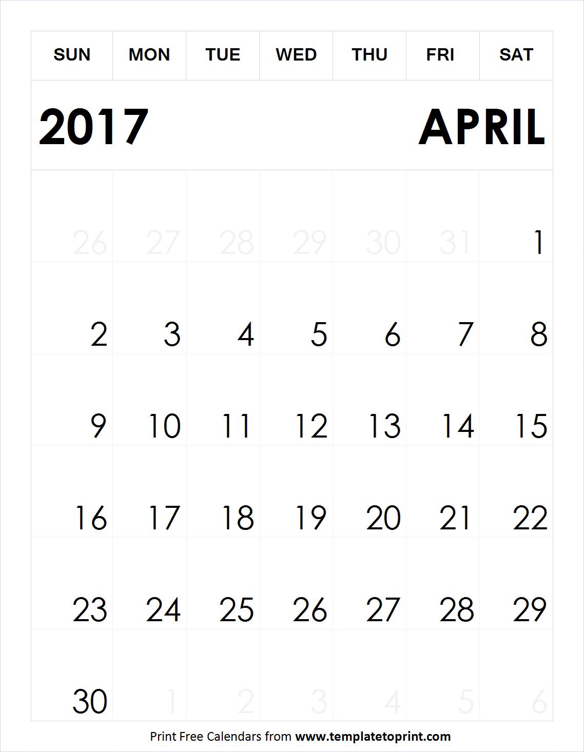 Print Free Blank April 2017 Calendar A4 Size - Calendar April PNG