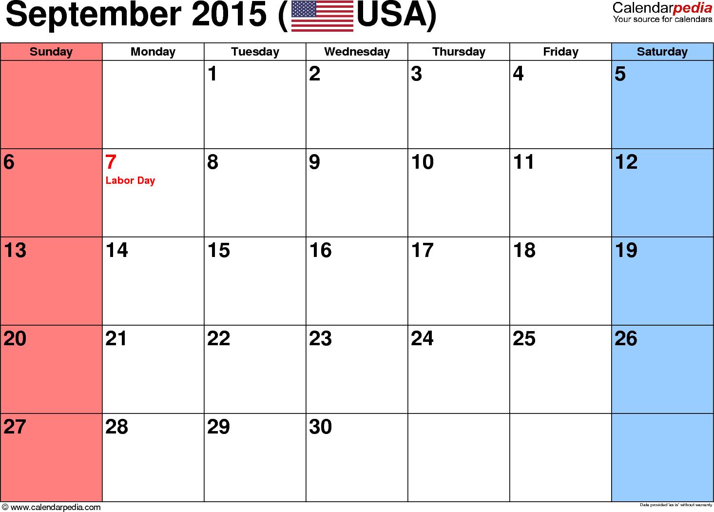 Blank September 2015 calendar - Calendar PNG September 2015