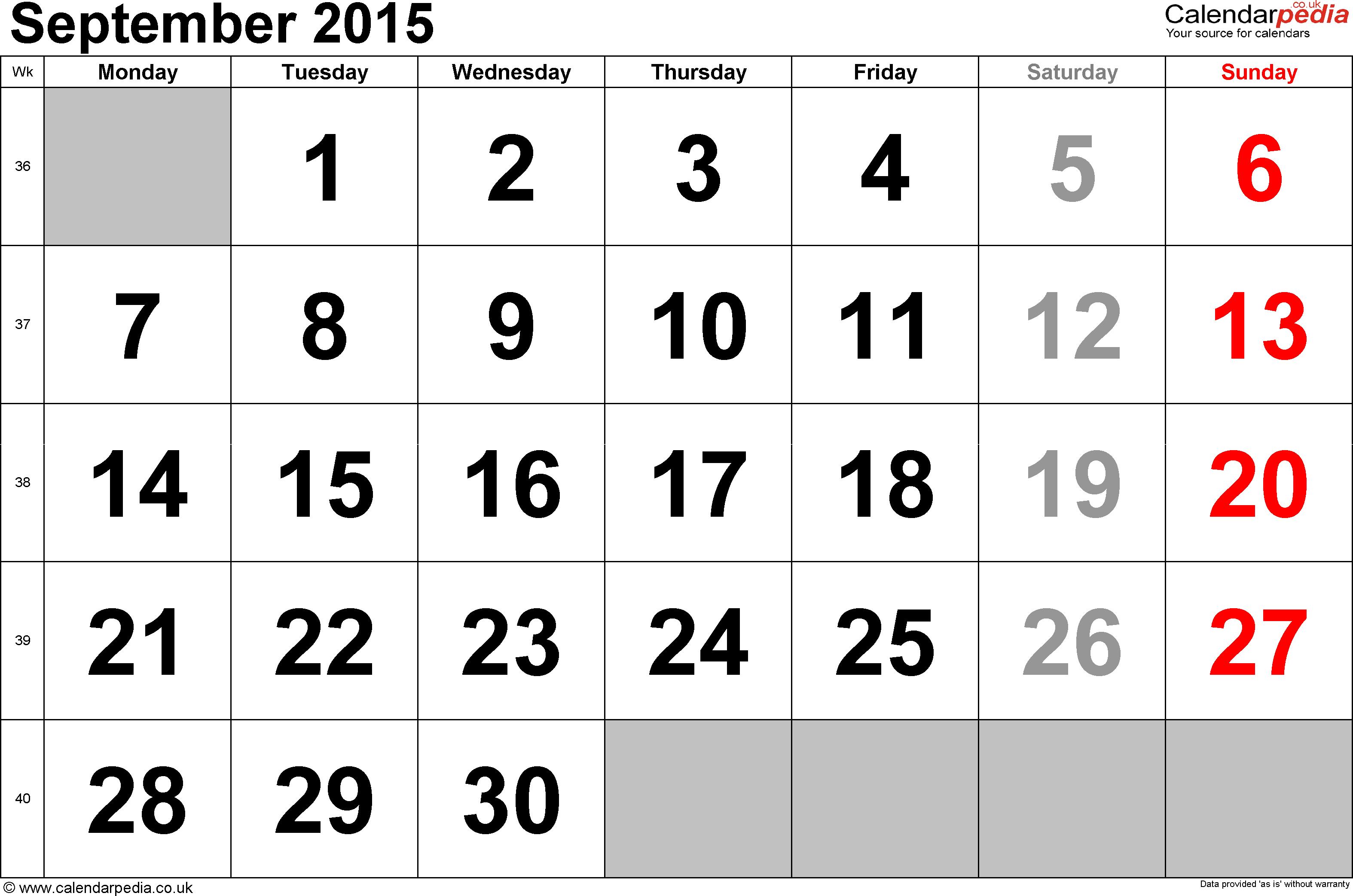 Calendar September 2015, landscape orientation, large numerals, 1 page,  with UK bank - Calendar PNG September 2015