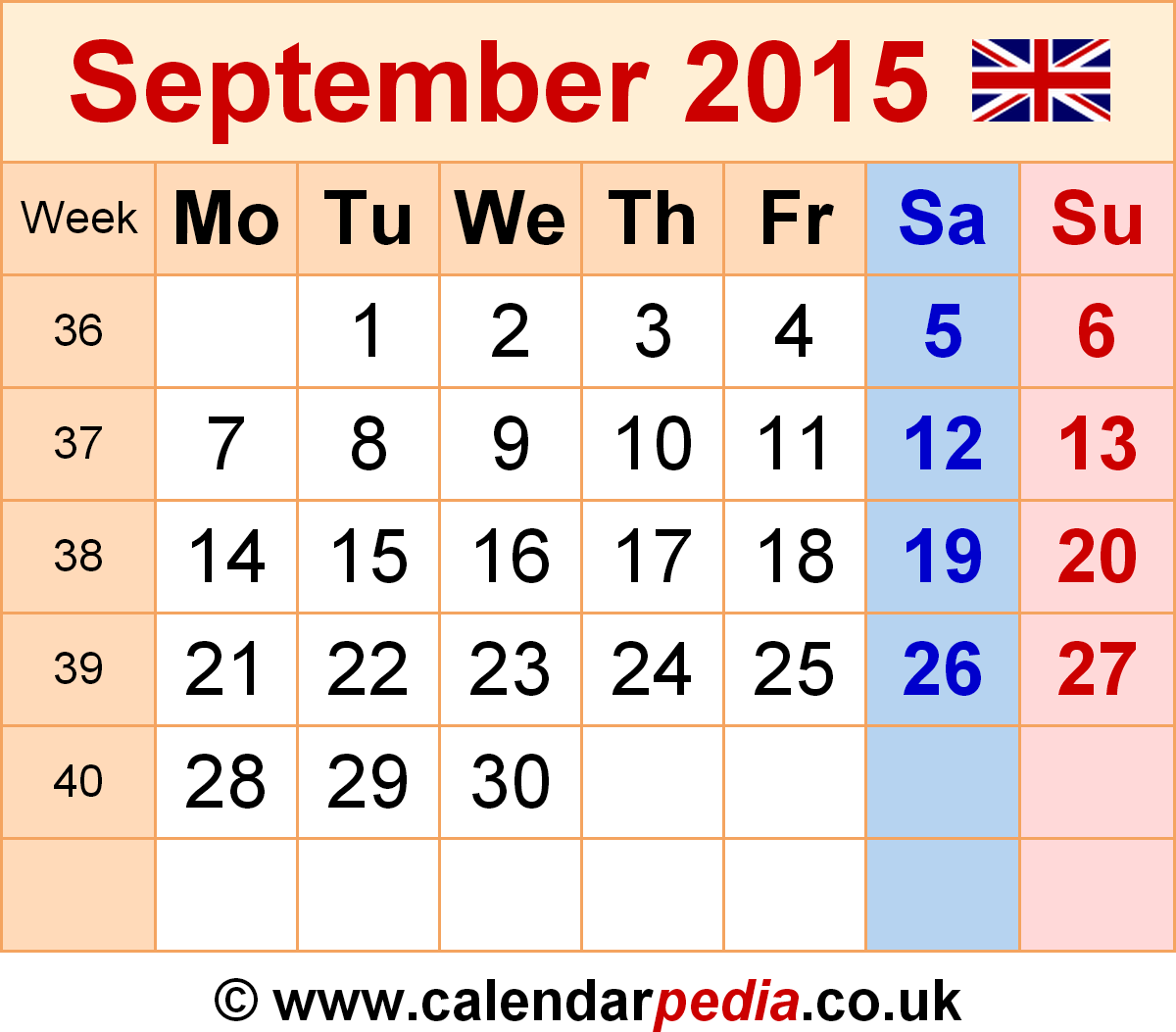 Calendar September 2015 template 6: graphic/image file in PNG format - Calendar PNG September 2015