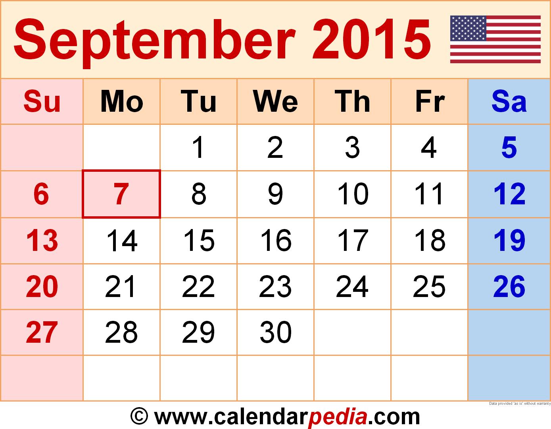 Download September 2015 calendar as a graphic/image file in PNG format - Calendar PNG September 2015