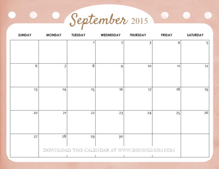 free printable September 2015 calendar cute - Calendar PNG September 2015