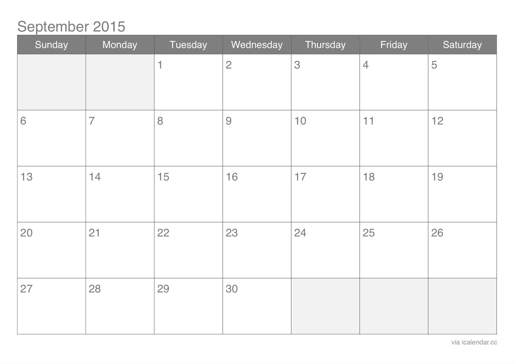 September 2015 Calendar 2015 September Calendar - Calendar PNG September 2015