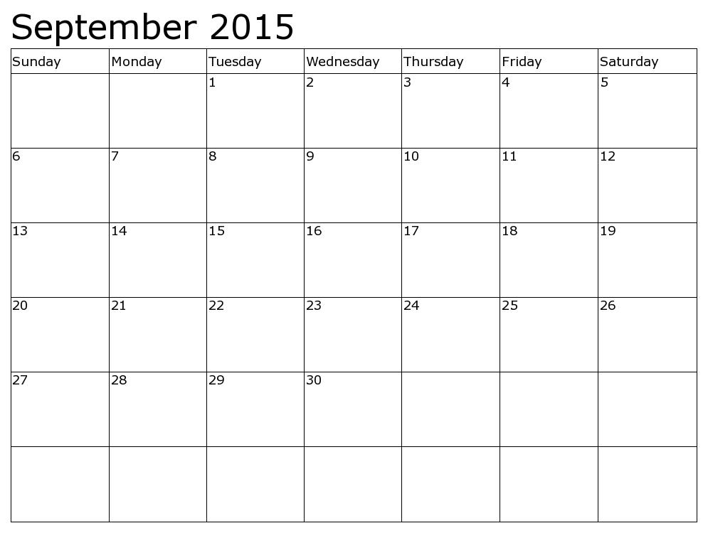 September 2015 Calendar - Calendar PNG September 2015