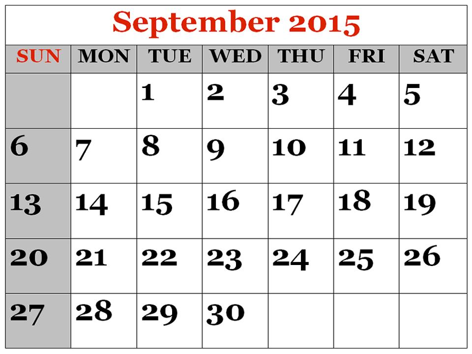 September Calendar Cliparts #2585927 - Calendar PNG September 2015