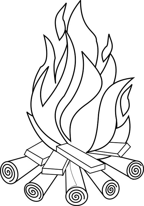 campfire bonfire fire hot wood burn blaze flames - Campfire PNG Black And White