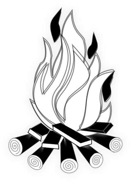 Download this image as: - Campfire PNG Black And White