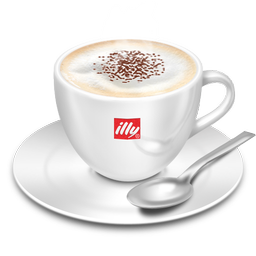 128x128 px, Cappuccino Illy Icon 256x256 png - Cappuccino Cup PNG