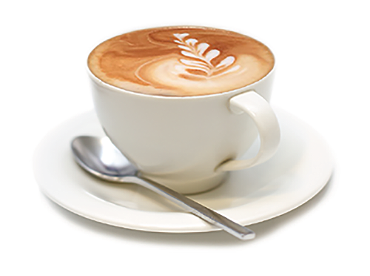 Picture of a cup of Annu0027s Bakery cappuccino on a saucer with spoon. - Cappuccino Cup PNG