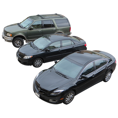 An overhead view of three cars in a circular parking lot. - Car Parking Lot PNG