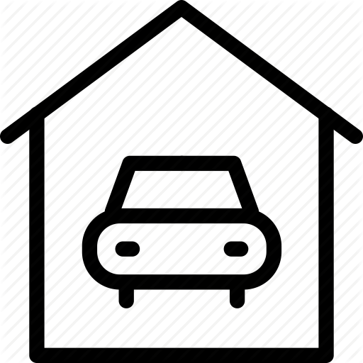 car in garage, carport, garage, parking lot, parking space icon - Car Parking Lot PNG