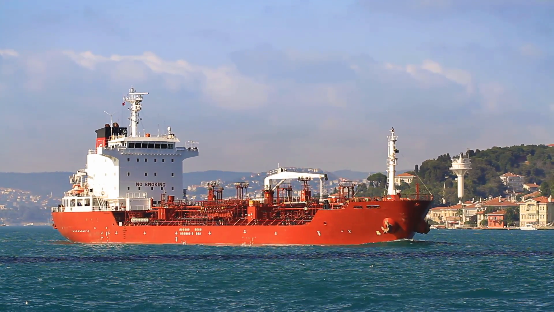 Oil chemical tanker cruising along the Bosporus Sea. HD, Tracking Video.  Chemical tanker ship Stock Video Footage - VideoBlocks - Cargo Ship PNG HD