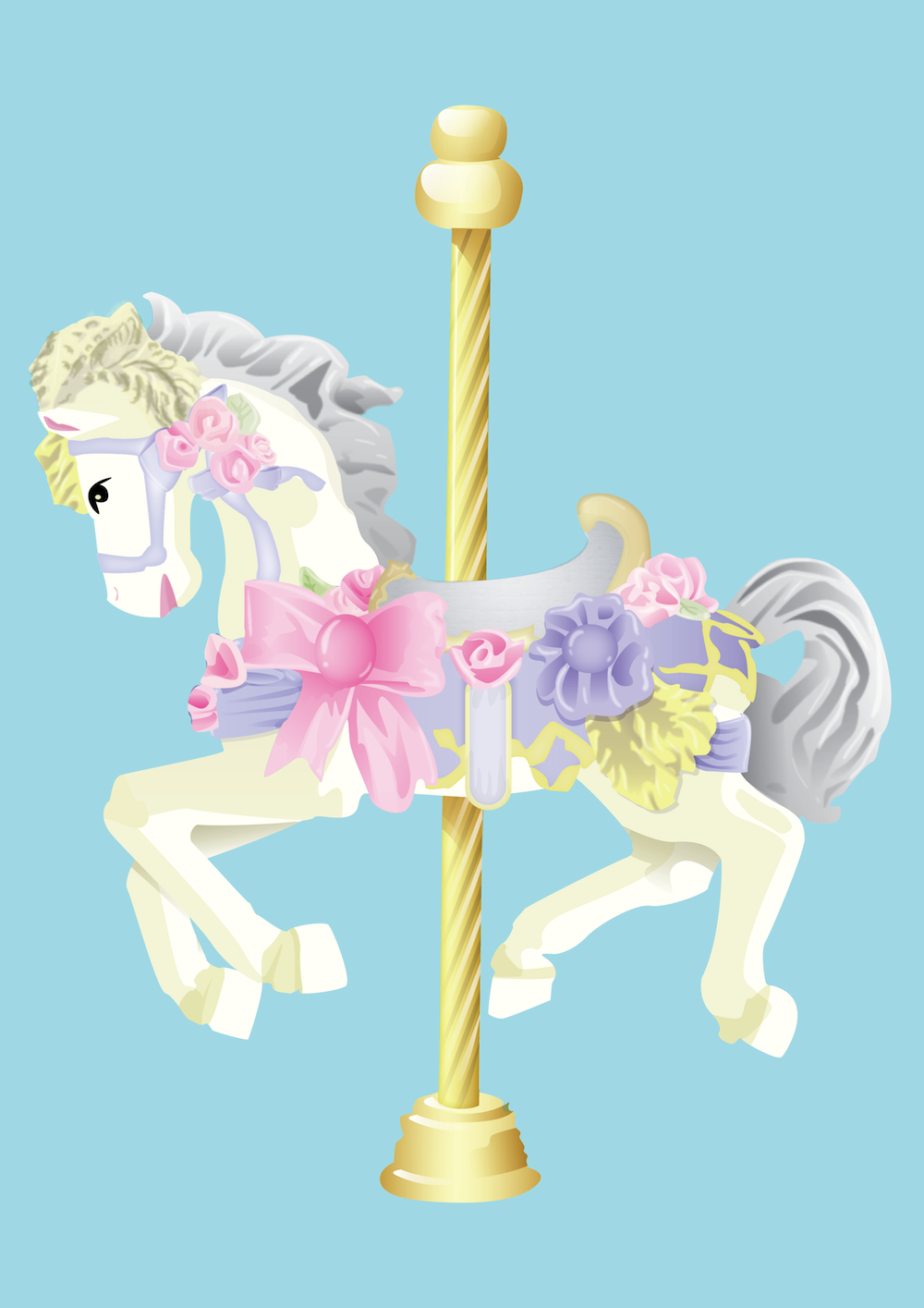 Cute Carousel Horse Illustration - Carousel Horse PNG HD