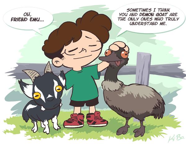 Friend Emu and Demon Goat by kevinbolk PlusPng.com  - Cartoon Emu PNG