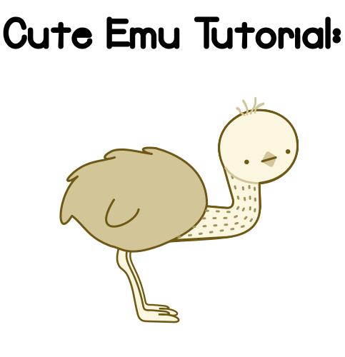 Kawaii or Cute Emu Tutorial Final Result by Paradasia PlusPng.com  - Cartoon Emu PNG