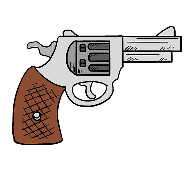 How to Draw Cartoon Revolver: Step 20 - Cartoon Gun PNG