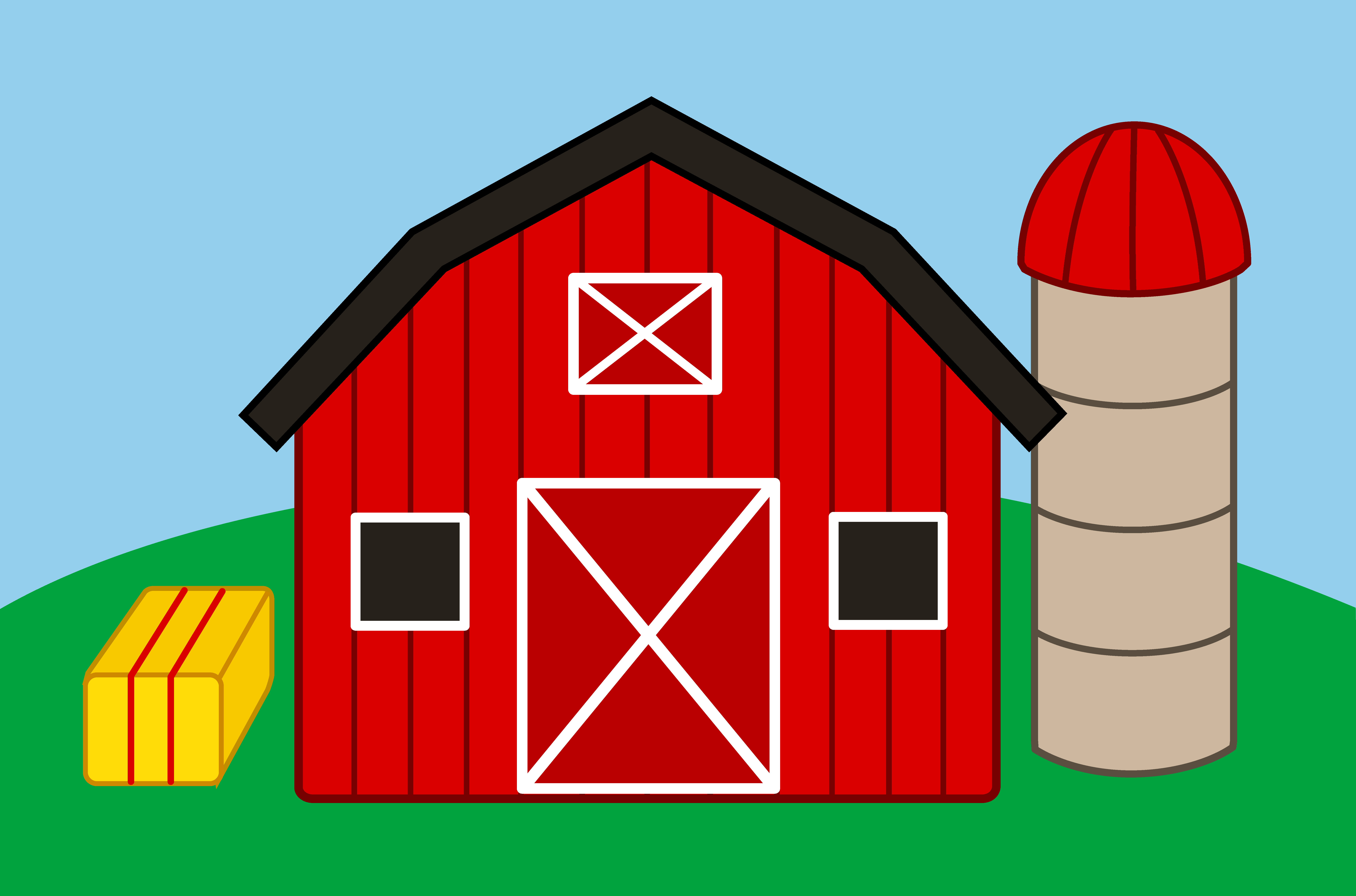 Cute Farm With Barn and Silo - Free Clip Art - Farm House PNG HD - Cartoon Houses PNG HD