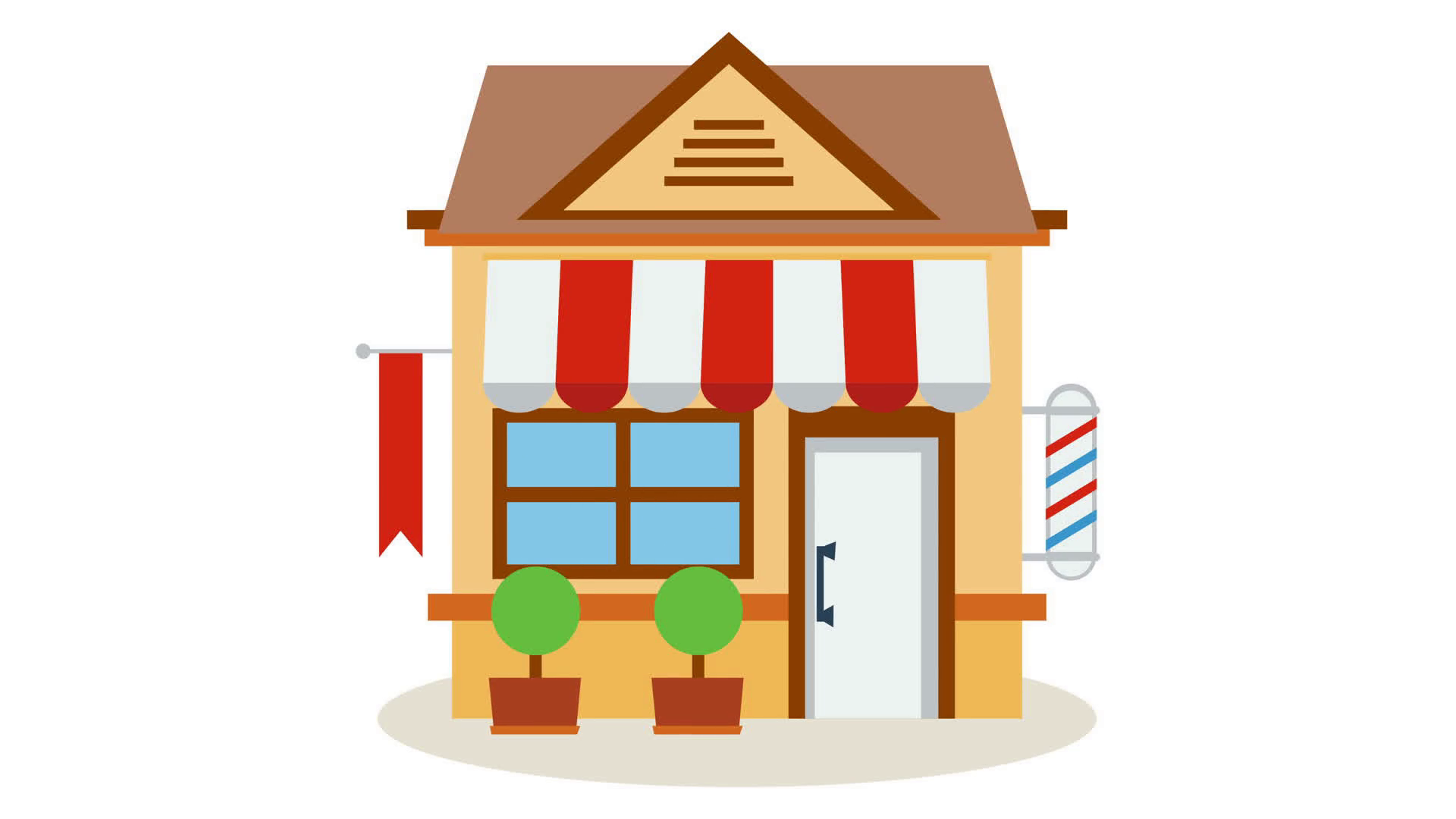 Shop store icon with red and white striped awning with smooth wave build  animation. Available in 4K FullHD and HD video 2D render footage on white. - Cartoon Houses PNG HD