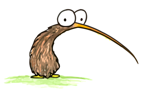 a cartoon drawing of a kiwi bird, for free use in a book report or - Cartoon Kiwi Bird PNG
