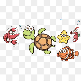 Marine life, Lovely, Cartoon, Sea Creatures PNG Image and Clipart - Cartoon Sea Animals PNG