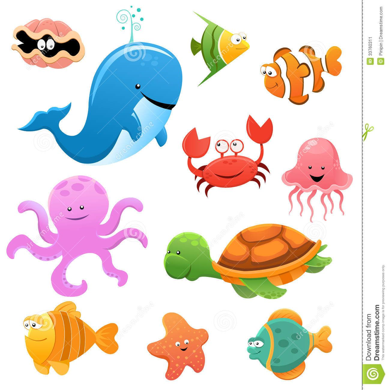 Cute Sea Creatures | Collection of cute little cartoon sea animals. - Cartoon Sea Creatures PNG