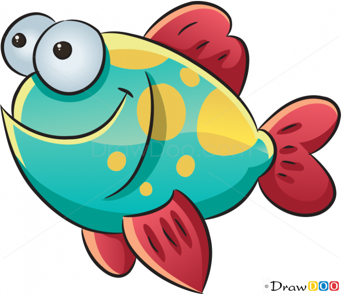 How to Draw Happy Fish, Sea Animals - How to Draw, Drawing Ideas, - Cartoon Sea Creatures PNG