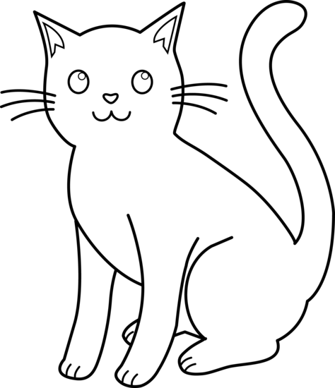 Black and White Cat Lineart - Free Clip Art - Cat And Dog PNG Black And White