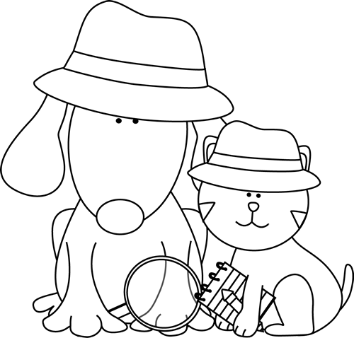 Black and White Detective Dog and Cat - Cat And Dog PNG Black And White