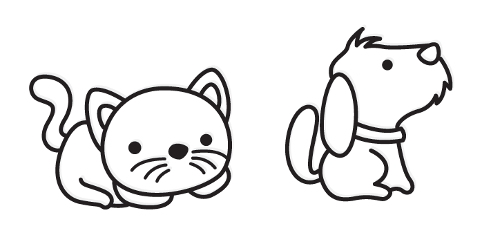 Cartoon cat and dog. Amandas kennels donegal - Cat And Dog PNG Black And White