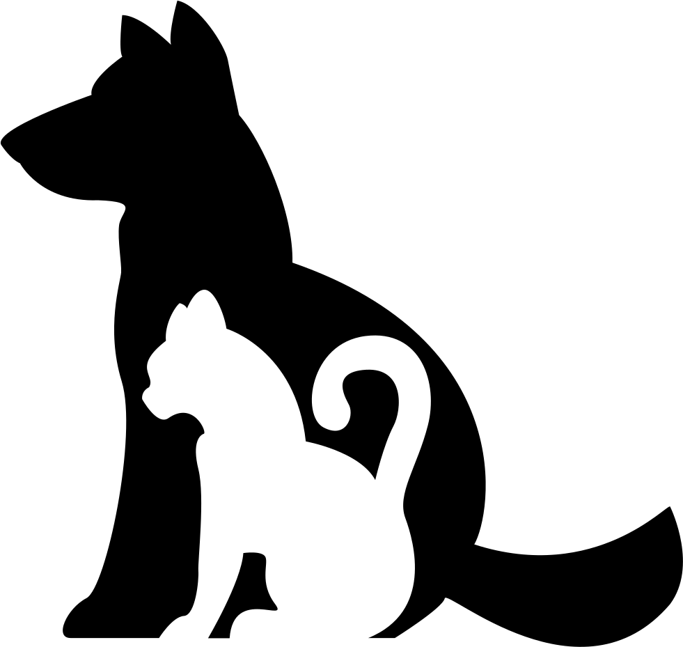 Dog And Cat Silhouettes Together Comments - Cat And Dog PNG Black And White