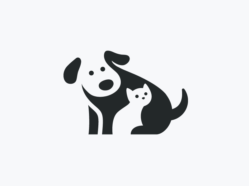 Cat And Dog PNG Black And White - 161527
