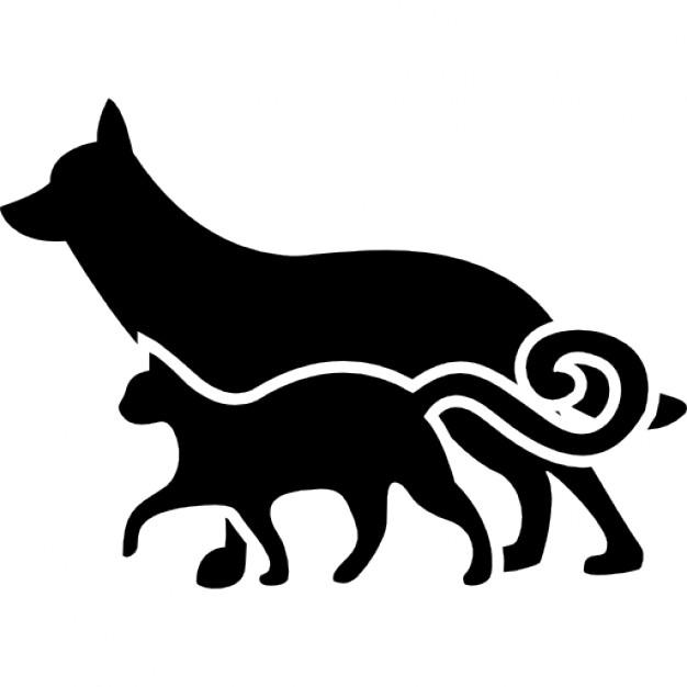 Silhueta Gato e Cachorro - Cat And Dog PNG Black And White