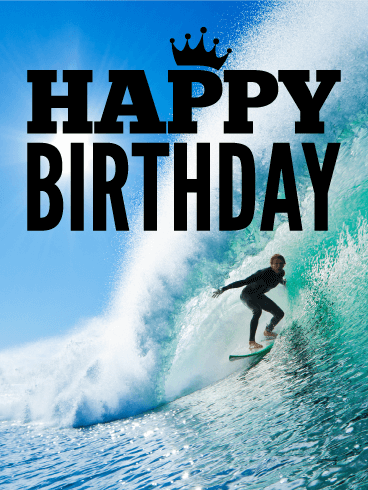 Surfing Happy Birthday Card - Catch the Wave - Catch A Wave PNG