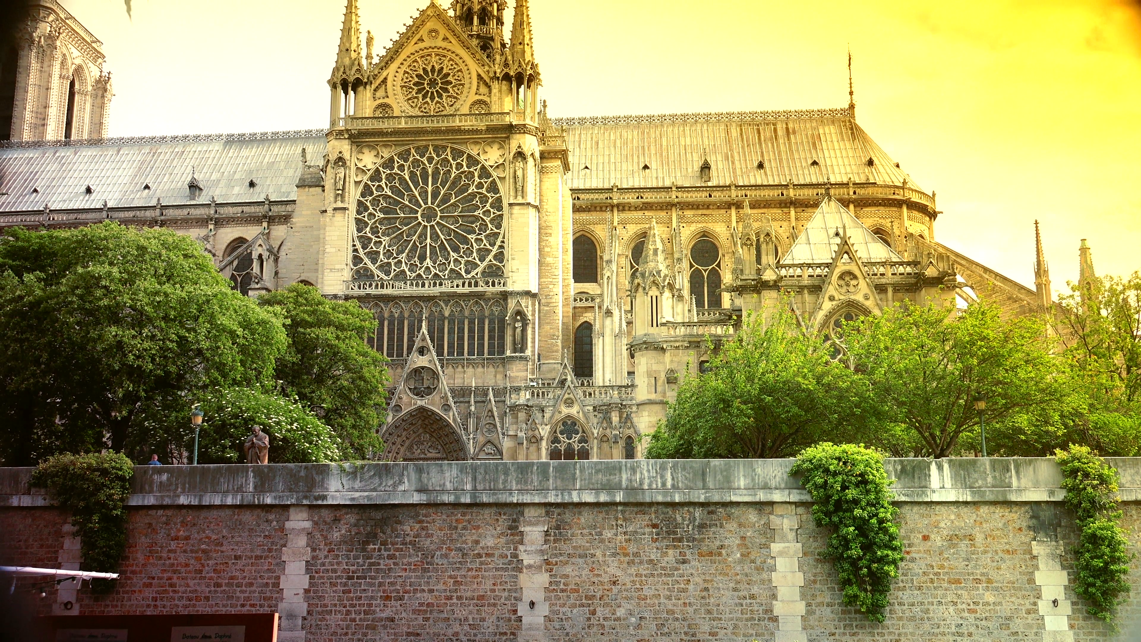 editorial- PARIS, FRANCE - circa 2015: Notre Dame Cathedral, ULTRA HD 4K,  real time, zooming. Notre-Dame is one of the most famous landmarks of the  French PlusPng.com  - Cathedral HD PNG