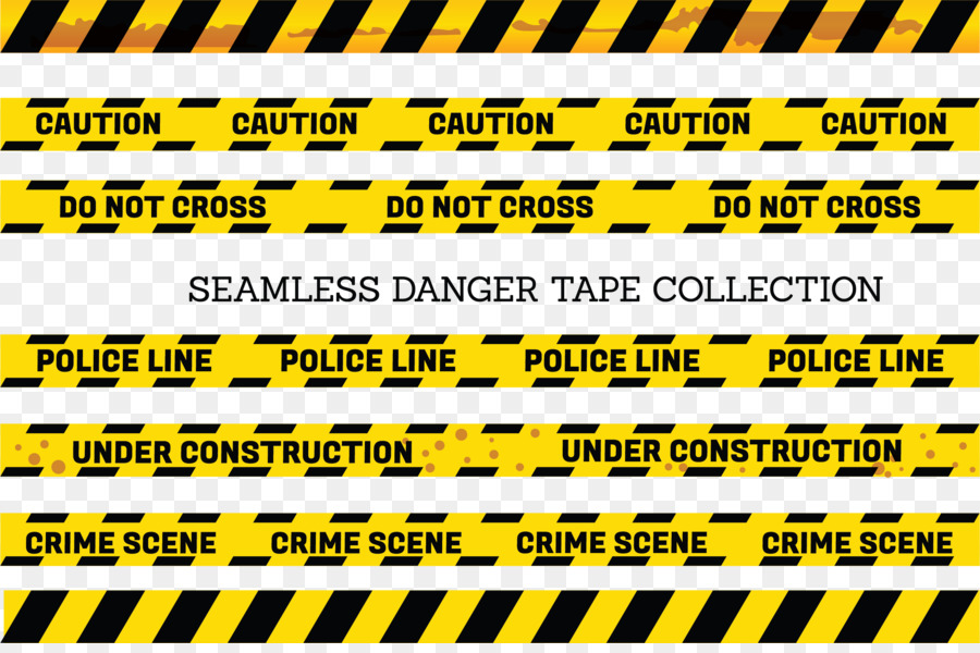 Adhesive tape Yellow Barricade tape - Yellow and black border warning line - Caution Tape PNG Border