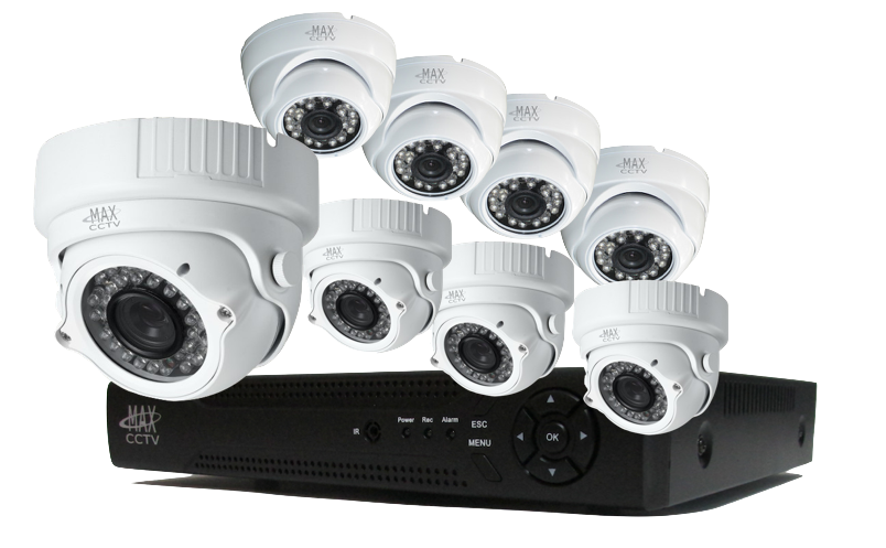MAX-PLEX8TK3 8 Camera HD-TVI Security Camera System. 4 Varifocal and 4 Fixed - Cctv Camera Images PNG