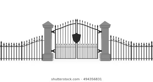 Gothic Cemetery Gates Isolated on White Background 3D Illustration - Cemetery Gates PNG