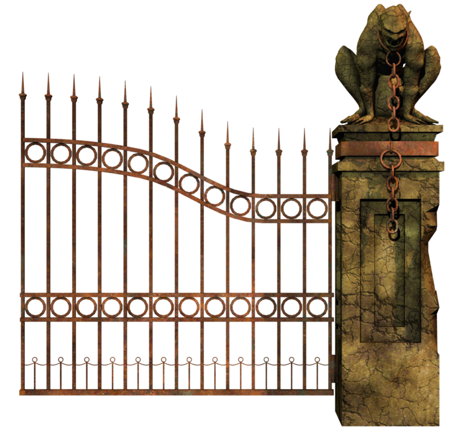 Graveyard Gate Right PNG Stock by Roy3D PlusPng.com  - Cemetery Gates PNG